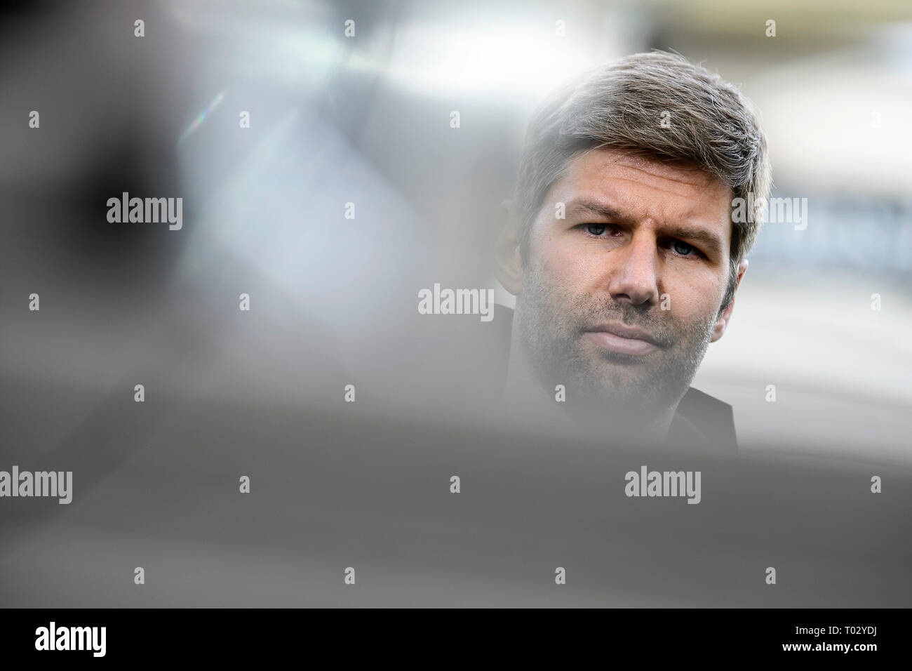 Sport Board Thomas Hitzlsperger (VfB Stuttgart), portrait, portrait, head. GES/Football/1. Bundesliga: VFB Stuttgart - TSG Hoffenheim, 16.03.2019 - Football/Soccer 1st Division: VFB Stuttgart vs TSG Hoffenheim, Stuttgart, Mar 16, 2019 - DFL regulations prohibit any use of photographs as image sequences and/or quasi-video. | usage worldwide Stock Photo