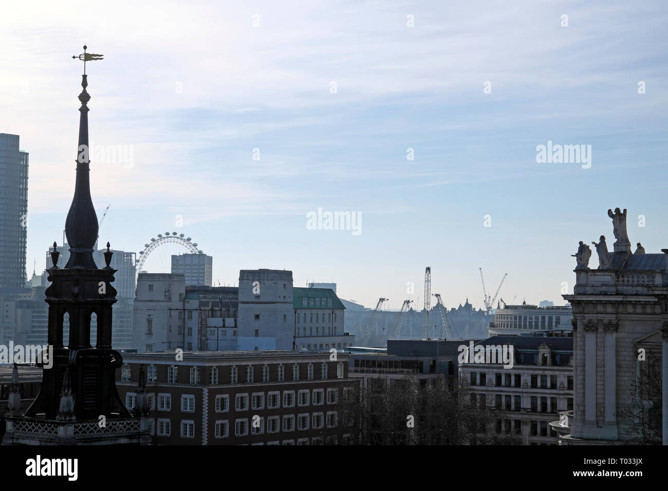 Cityscape from One New Change rooftop terrace looking towards the London Eye  in the City of London UK  KATHY DEWITT Stock Photo