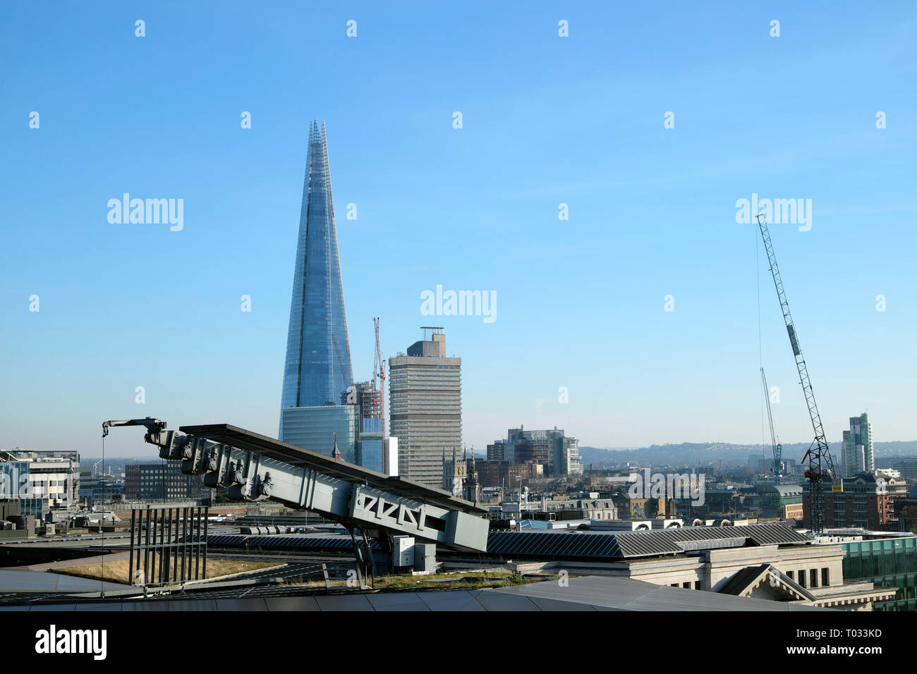 View of the Shard building and cityscape looking south from One New Change rooftop terrace in the City of London UK  KATHY DEWITT - Stock Image