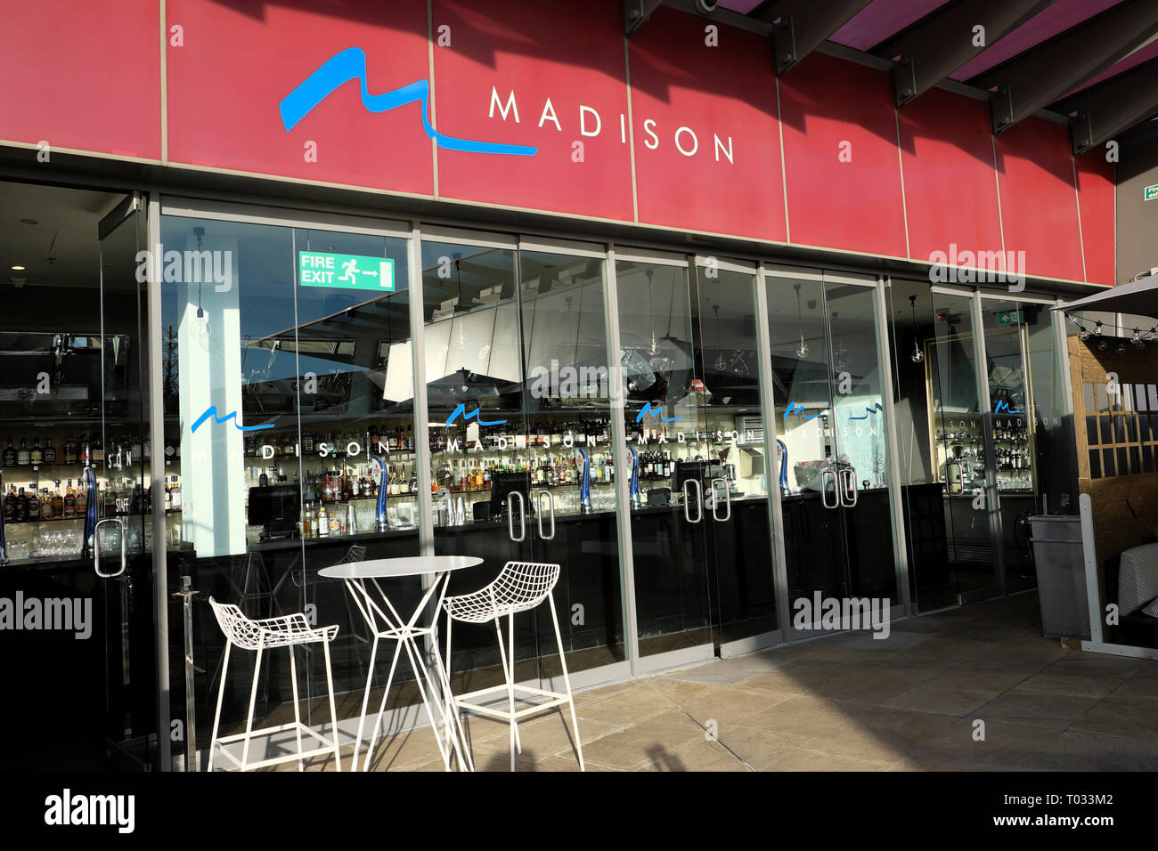 Exterior view of Madison bar and tapas restaurant at One New Change rooftop terrace in the City of London EC4 England UK  KATHY DEWITT - Stock Image