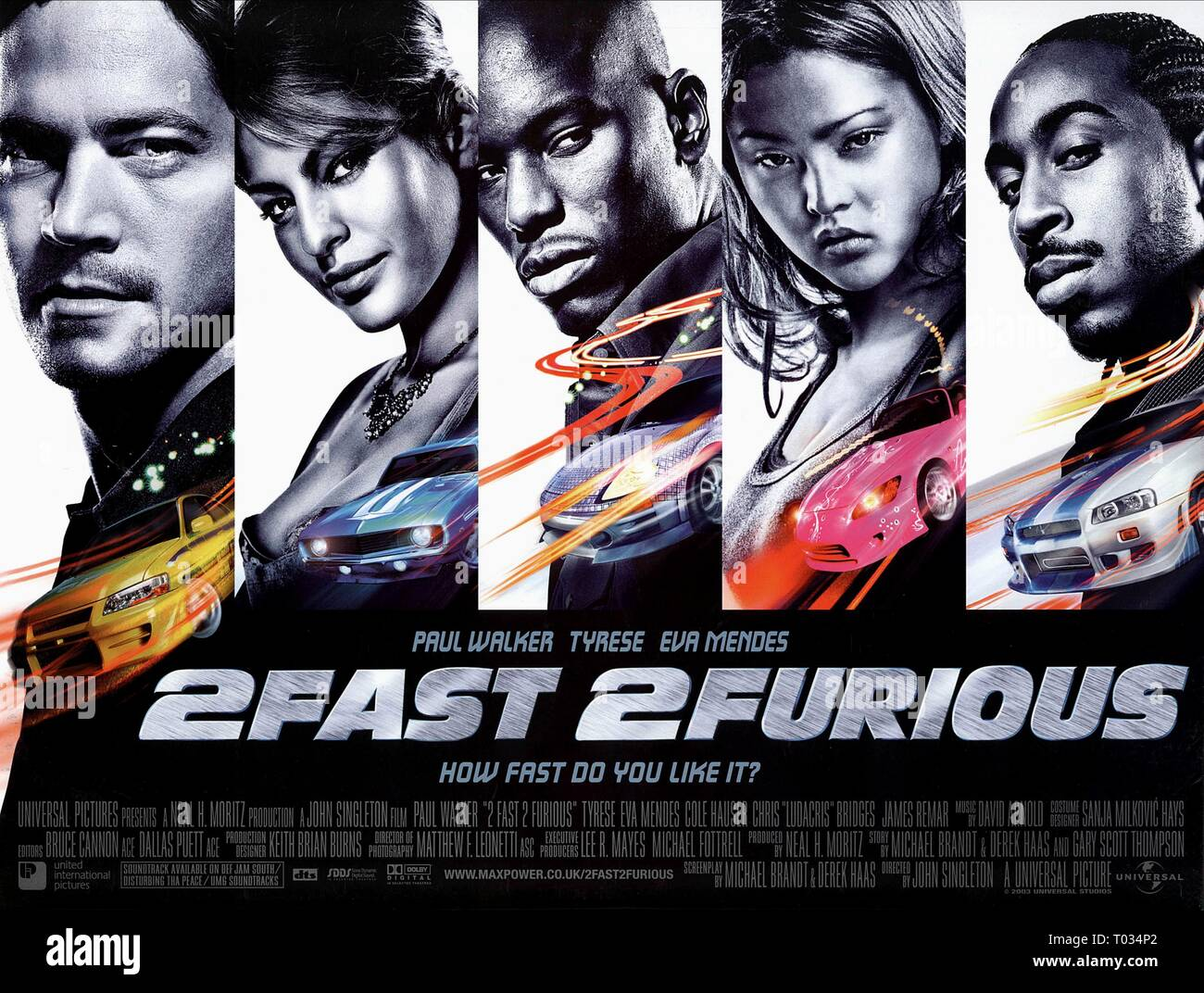 2 FAST 2 FURIOUS, PAUL WALKER, TYRESE GIBSON, EVA MENDES, CHRIS LUDACRIS BRIDGES , DEVON AOKI, 2003 - Stock Image