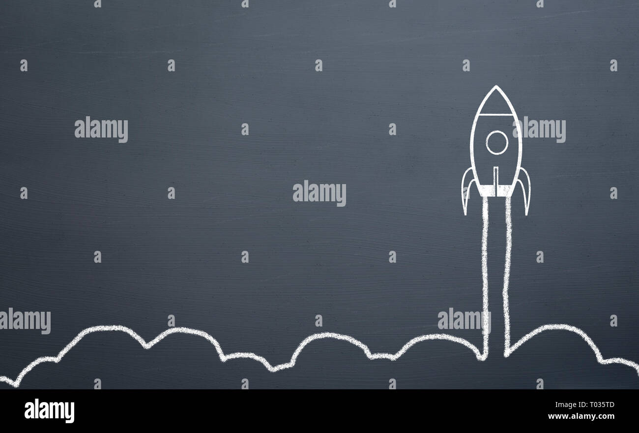 chalk drawing rocket on blackboard Going up quickly - Stock Image