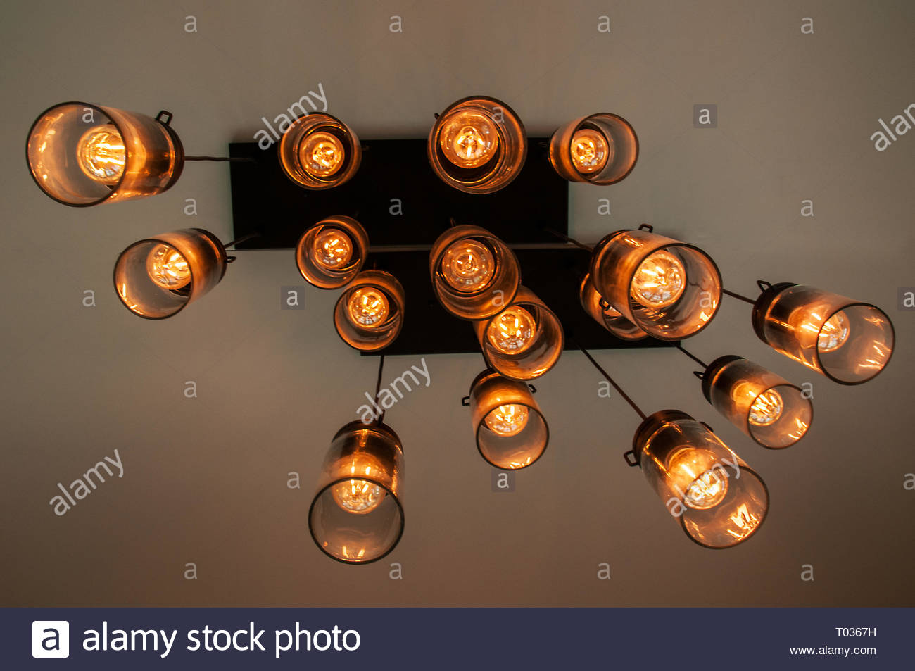 Ceiling lights hanging in abstract view Ontario Canada - Stock Image