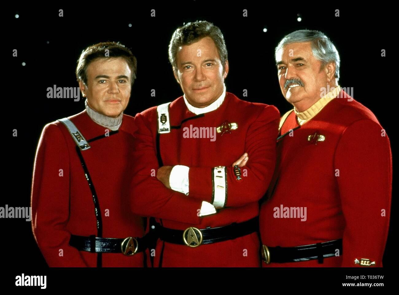 WALTER KOENIG, WILLIAM SHATNER, JAMES DOOHAN, STAR TREK: GENERATIONS, 1994 - Stock Image