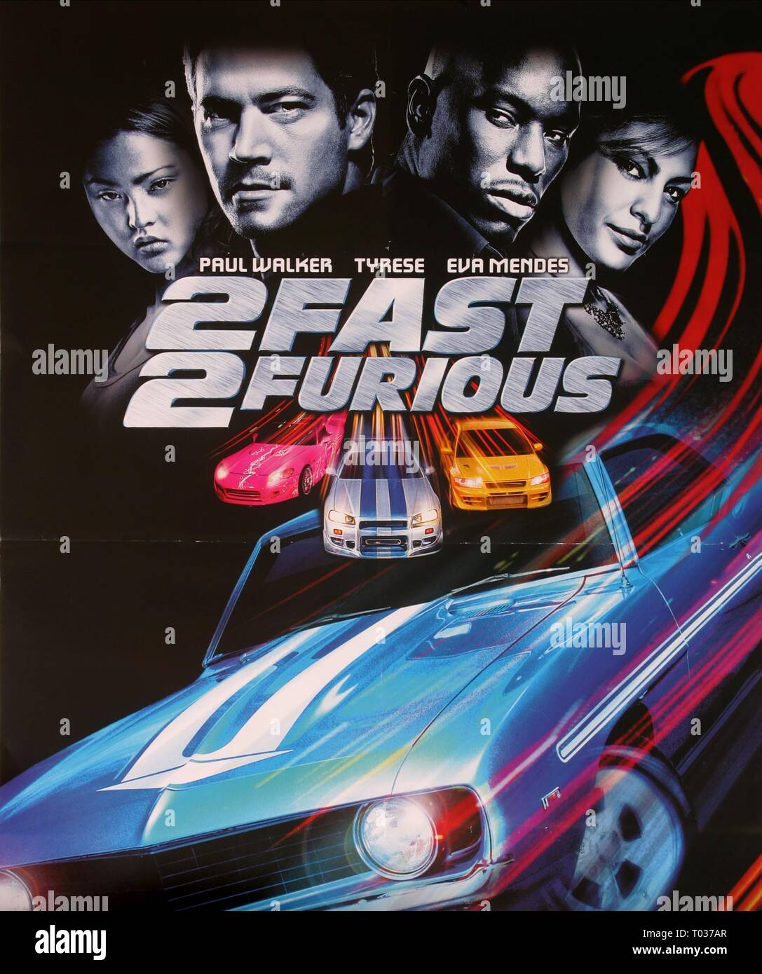 PAUL WALKER, TYRESE GIBSON, EVA MENDES, CHRIS LUDACRIS BRIDGES, DEVON AOKI POSTER, 2 FAST 2 FURIOUS, 2003 - Stock Image