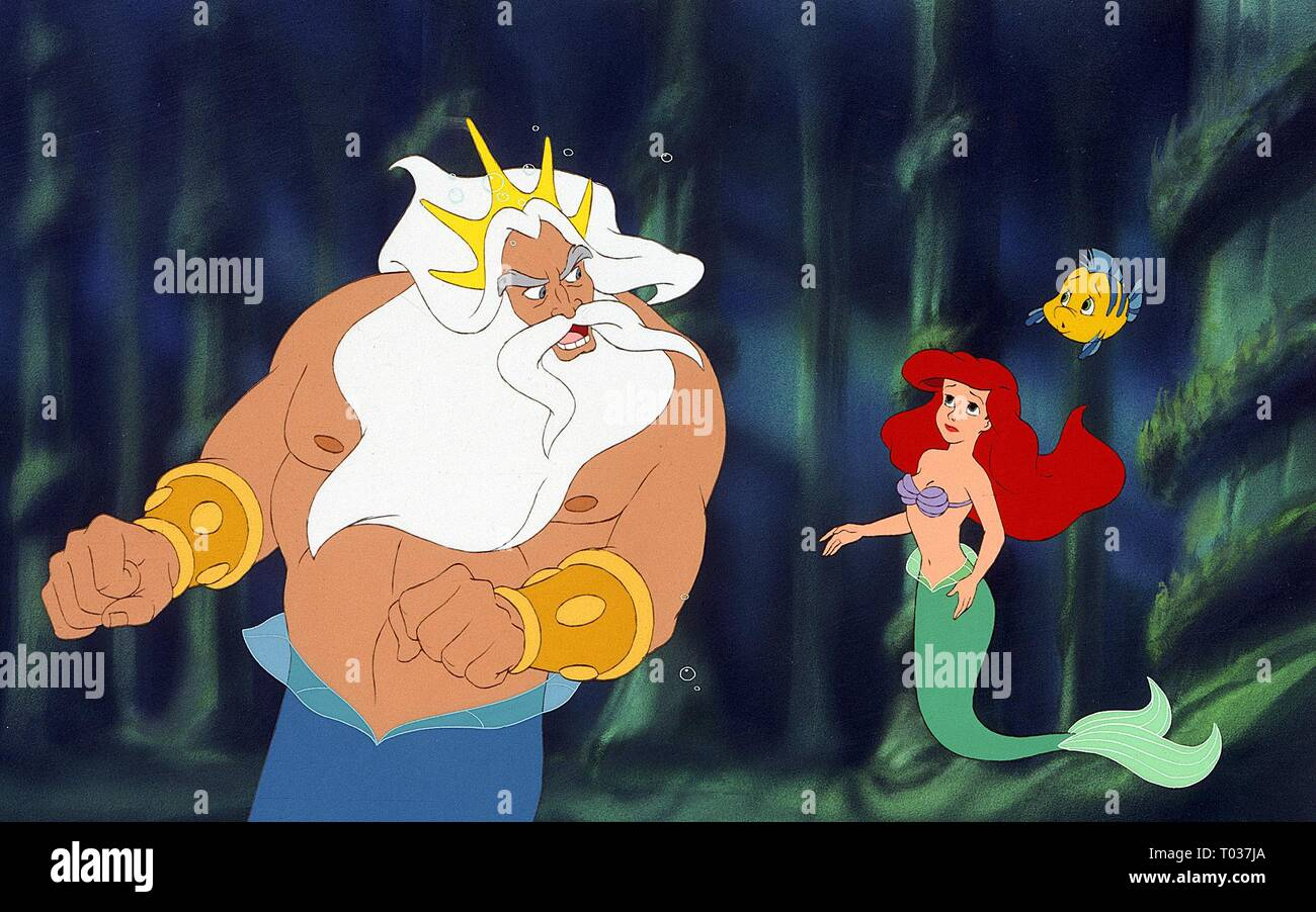 KING TRITO, ARIEL, FLOUNDER, THE LITTLE MERMAID, 1989 - Stock Image