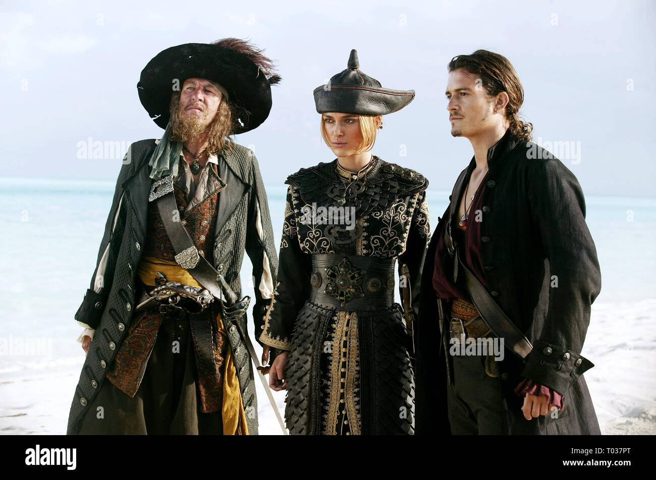 GEOFFREY RUSH, KEIRA KNIGHTLEY, ORLANDO BLOOM, PIRATES OF THE CARIBBEAN: AT WORLD'S END, 2007 - Stock Image