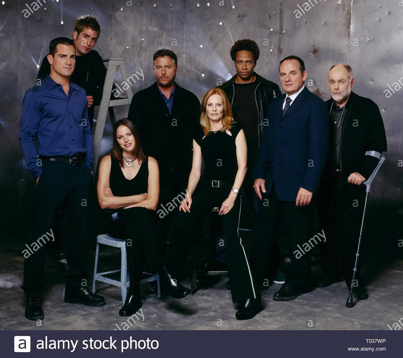 GEORGE EADS, ERIC SZMANDA, JORJA FOX, WILLIAM L. PETERSEN, MARG HELGENBERGER, GARY DOURDAN, PAUL GUILFOYLE, ROBERT DAVID HALL Stock Photo