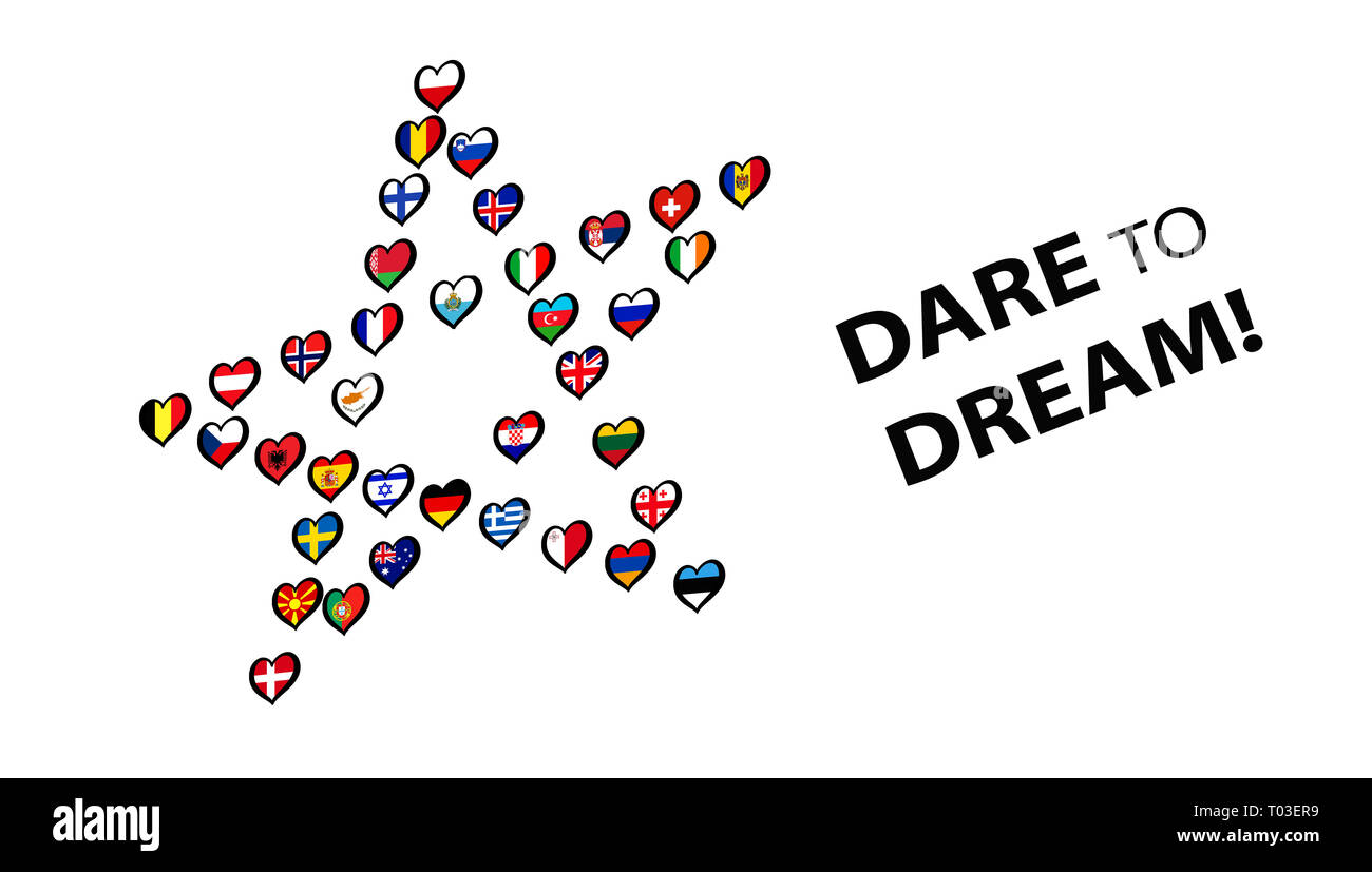 Europe Flags made Star on white background. Song contest. With lettering Dare To Dream Illustration - Stock Image