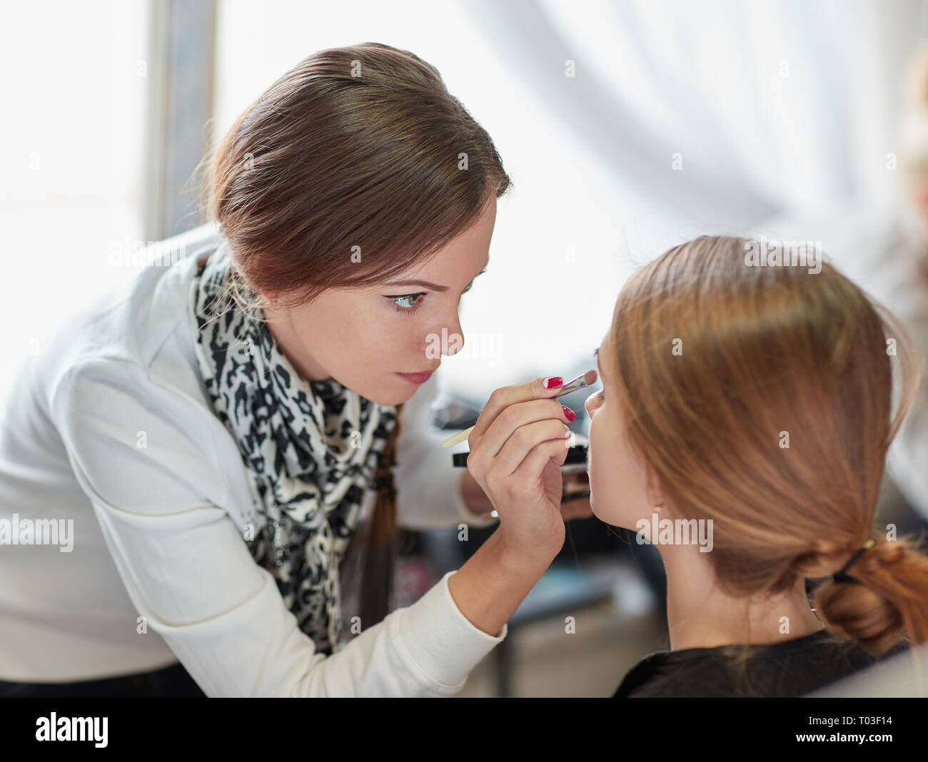 professional makeup artist does make-up in a beauty salon