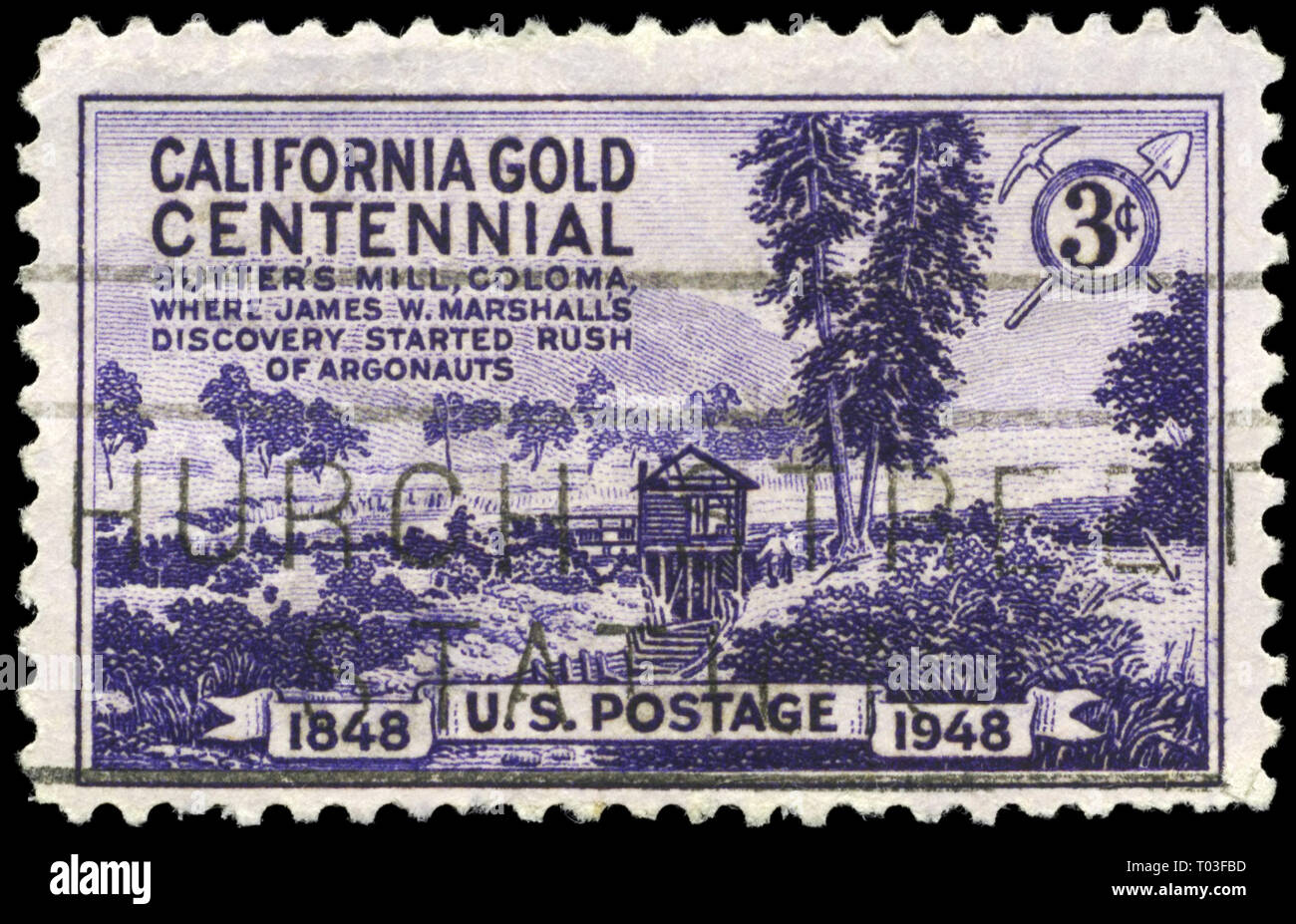 USA - CIRCA 1948: A Stamp printed in USA shows Sutter's Mill, Coloma, Discovery of gold in California, centenary, circa 1948 - Stock Image