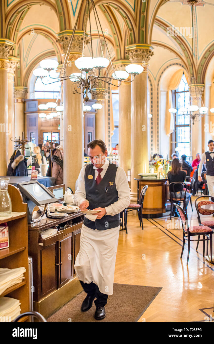 Waiters At Work At The Famous Cafe Central On Herrengasse In The Innere Stadt Vienna Austria Stock Photo Alamy