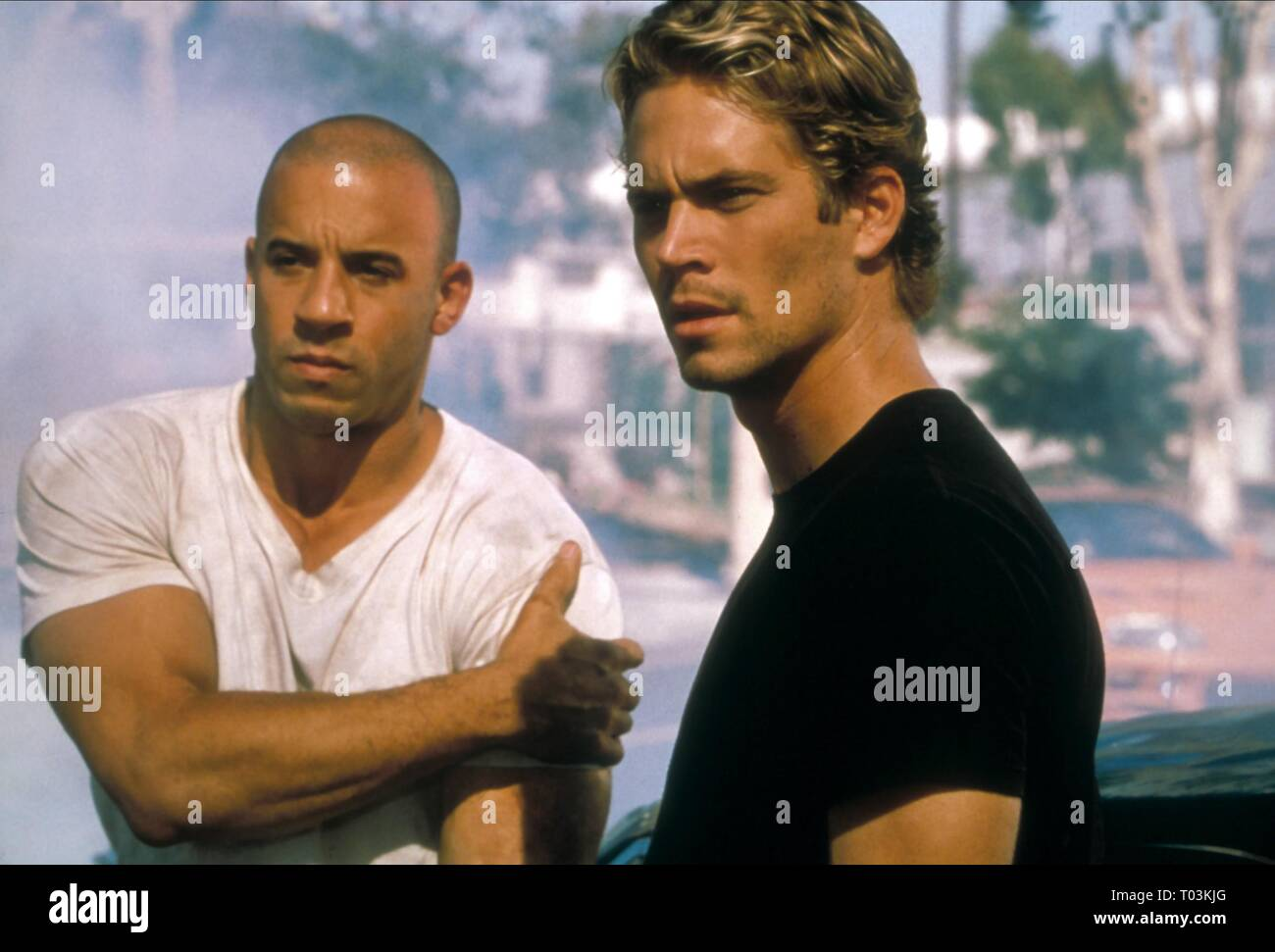 VIN DIESEL, PAUL WALKER, THE FAST AND THE FURIOUS, 2001 Stock Photo
