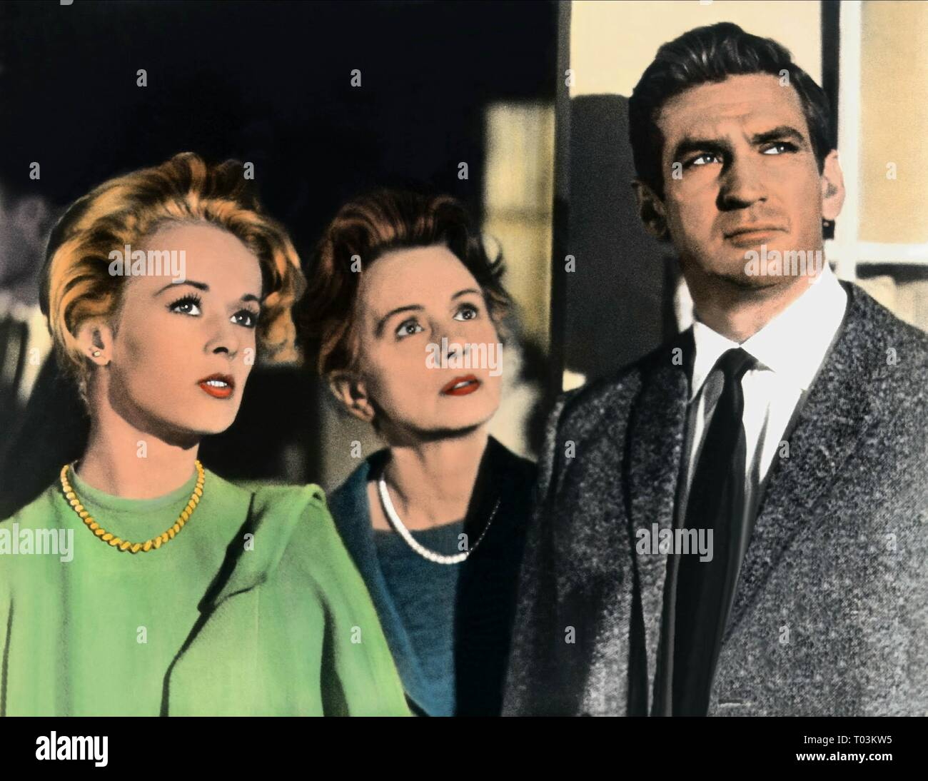 TIPPI HEDREN, JESSICA TANDY, ROD TAYLOR, THE BIRDS, 1963 - Stock Image