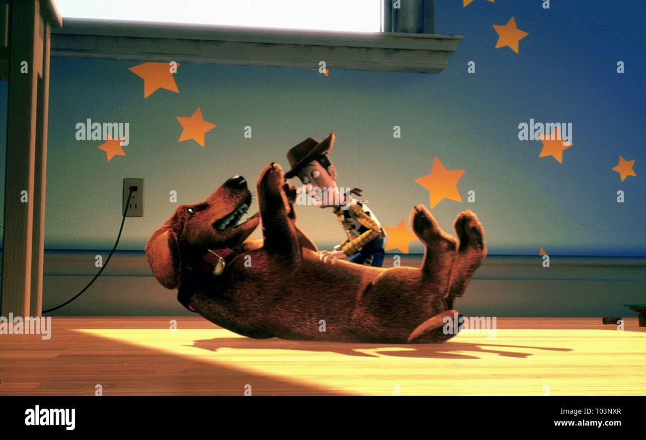 WOODY, BUSTER THE DOG, TOY STORY 2, 1999 - Stock Image