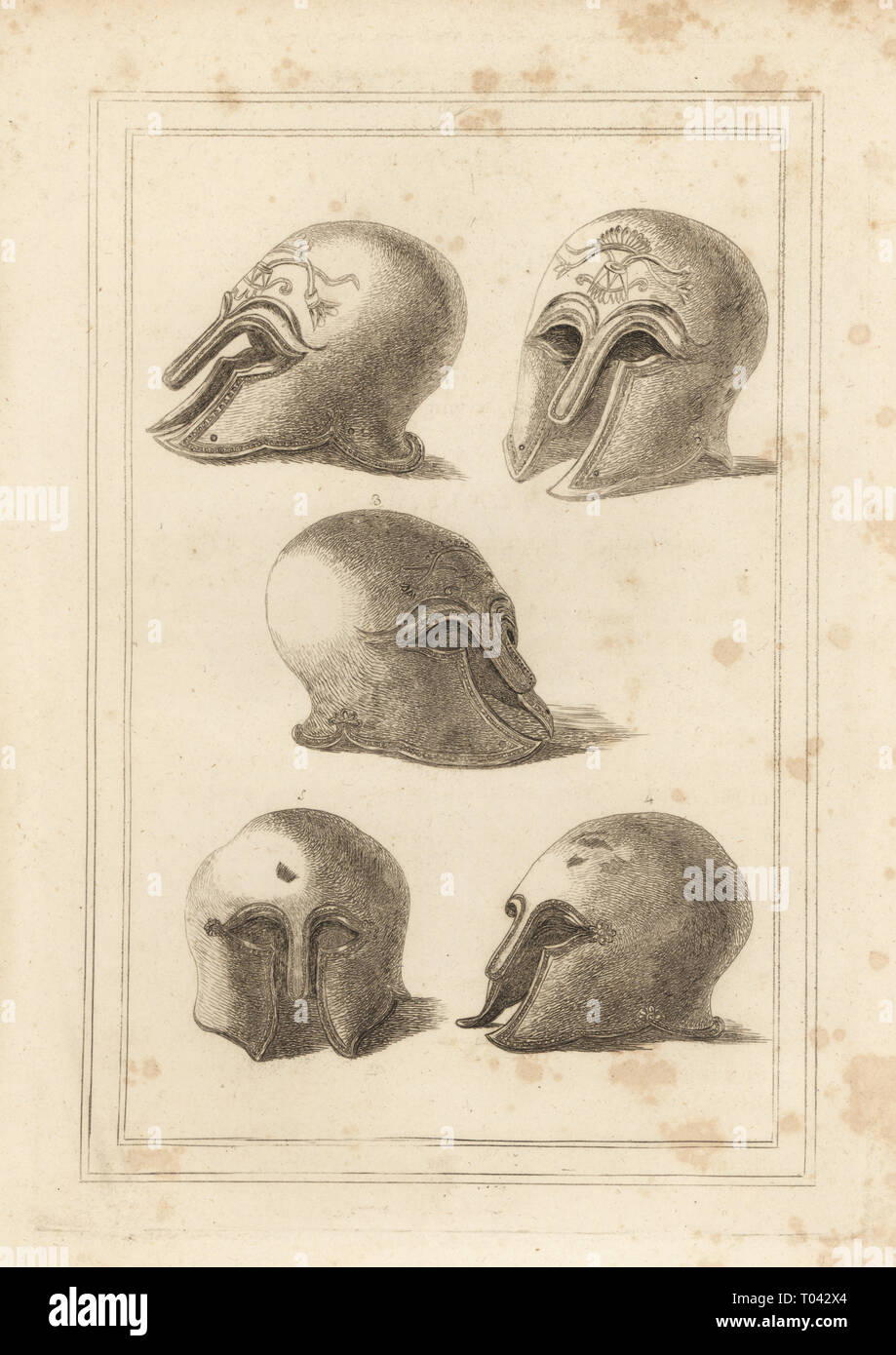 Ancient Greek brass helmet in the form of an owl, Minerva's favourite bird, 1,2,3 and another helmet from Rome 4,5. Copperplate engraving from Francis Grose's Military Antiquities respecting a History of the English Army, Stockdale, London, 1812. - Stock Image