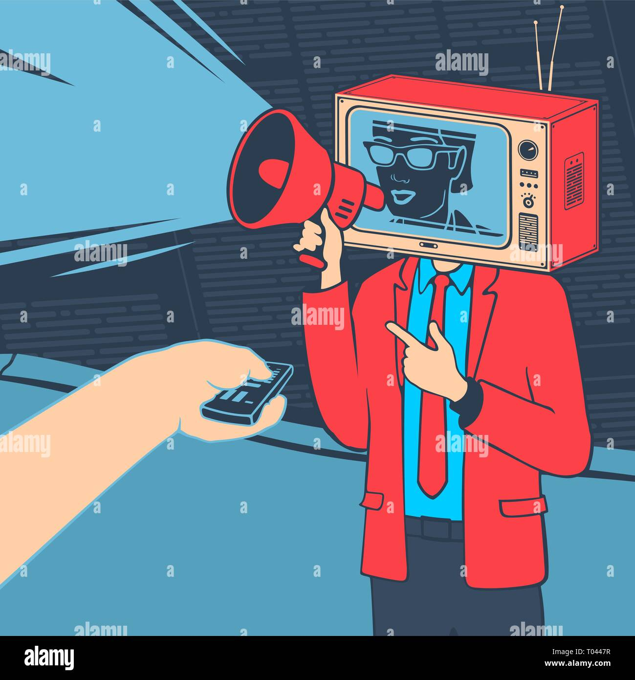 Vector Illustration Media Propaganda Concept - Stock Image