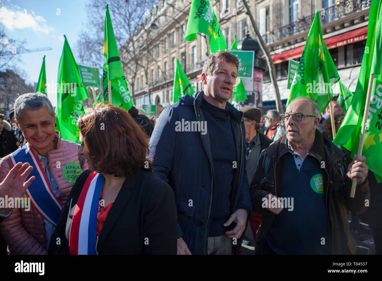 They had dubbed it the 'March of the Century,' it was historic. Saturday, March 16, 50,000 people demonstrated in PARIS to fight against climate chang - Stock Image