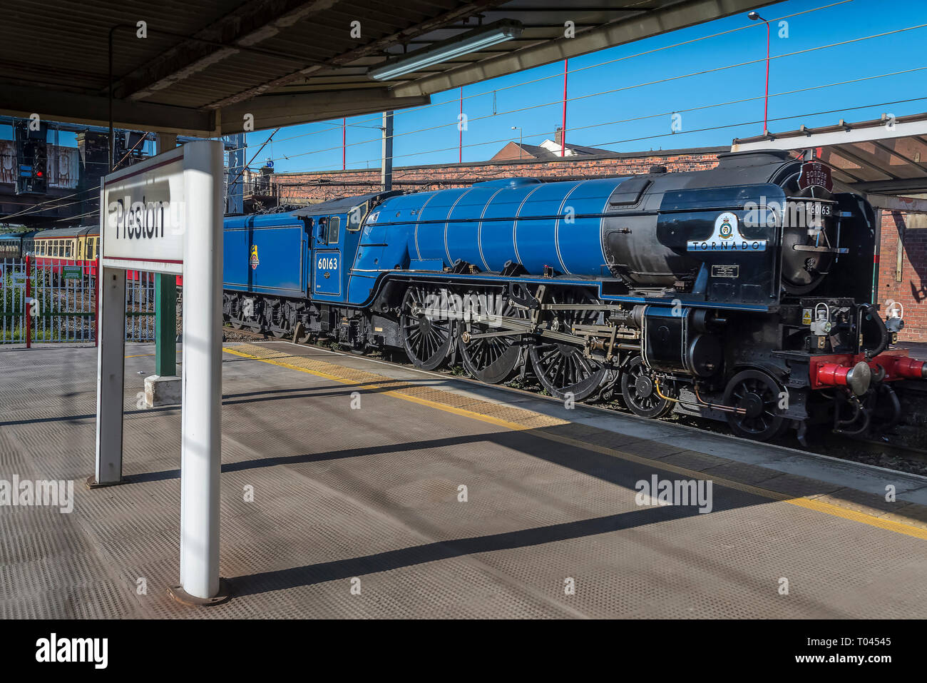 The steam A4 Pacific locomotive Tornado arrives at Preston station. - Stock Image