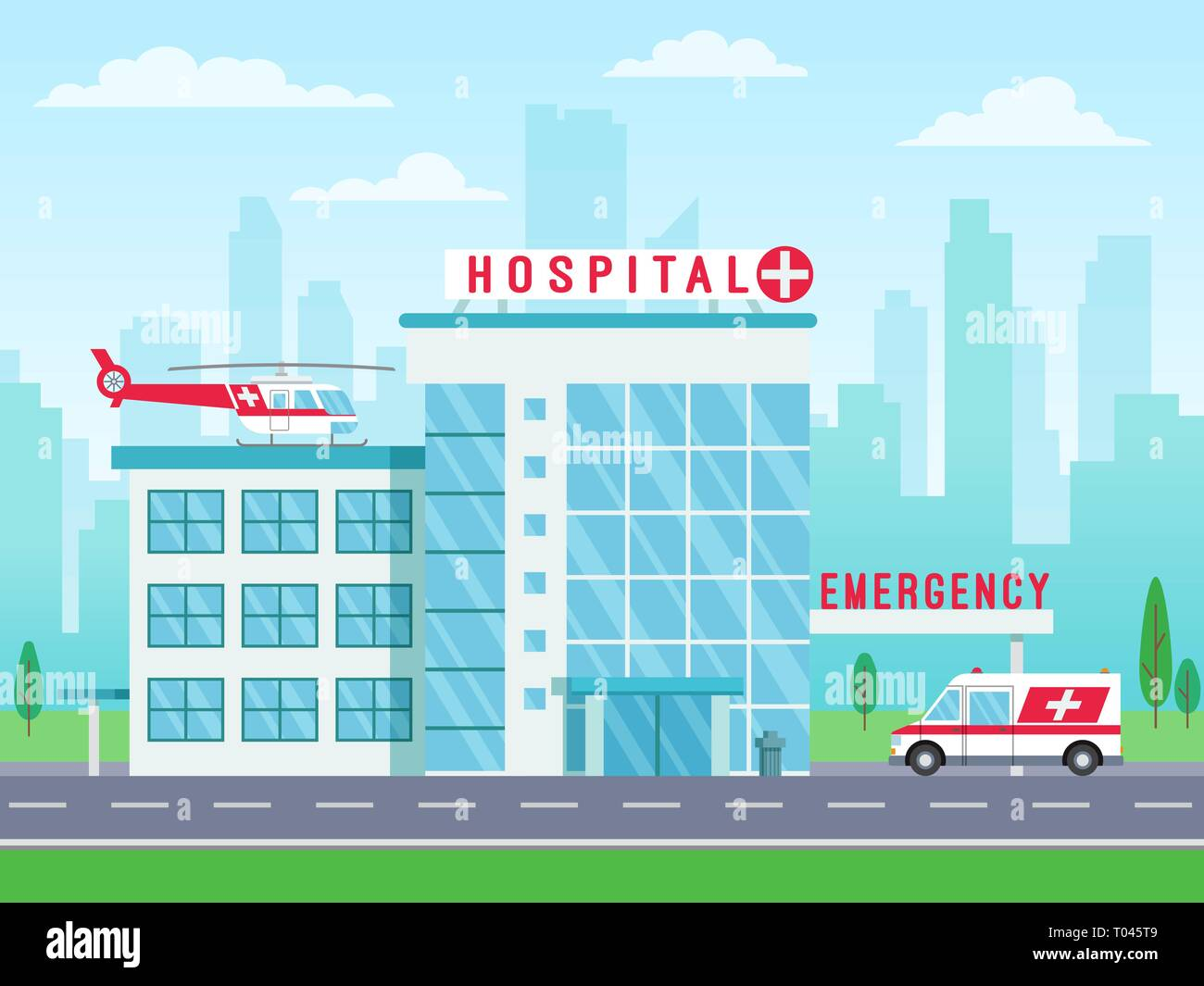 Hospital building with ambulance helicopter on roof and car standing on road, medical services, clinic building with big windows, vector illustration - Stock Vector