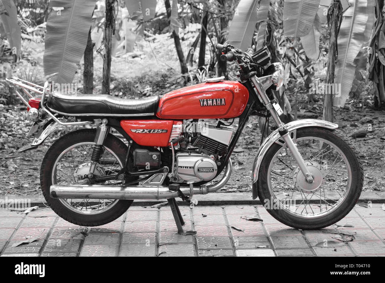 Yamaha RX135 captured using a Nikon D3300 with 18-55mm lens. Thought some selective color edit would look good on this picture. - Stock Image