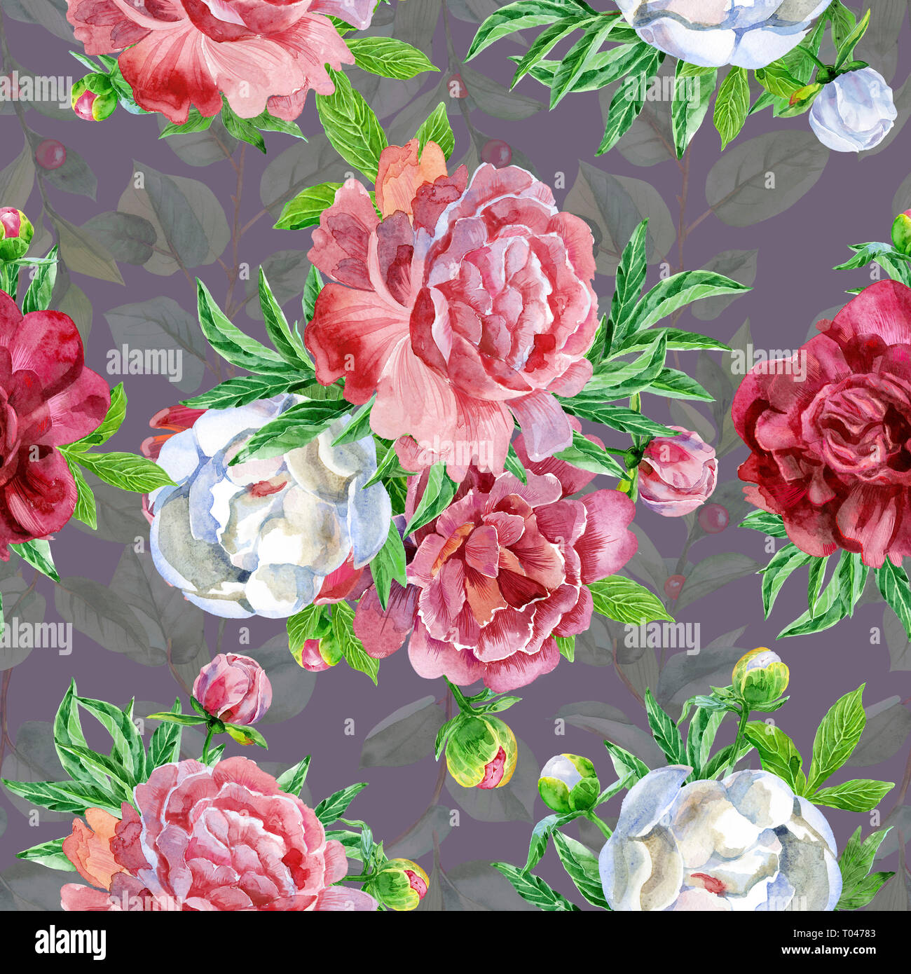 Seamless Pattern With Peonies Flowers Modern Floral Pattern For