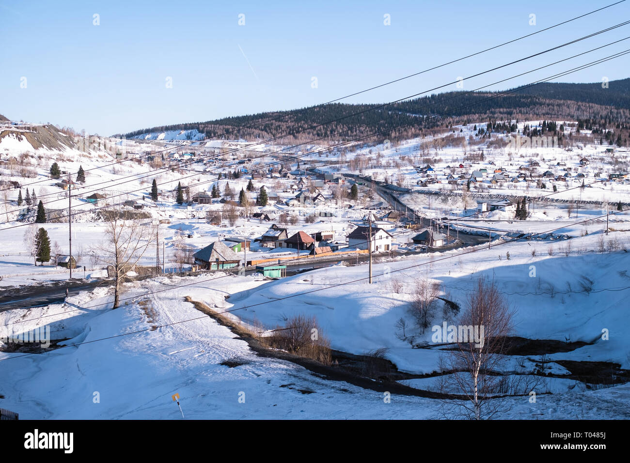 View of Sheregesh urban-type settlement in Siberia, Russia. - Stock Image