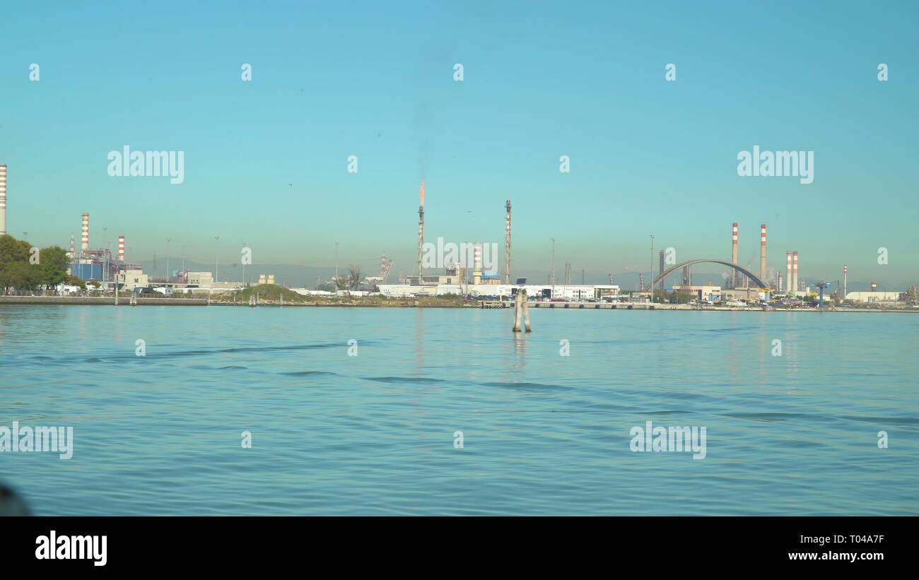 The Fusina terminal found in Venice Italy the blue water on the sea and the harbor port on the other part Stock Photo