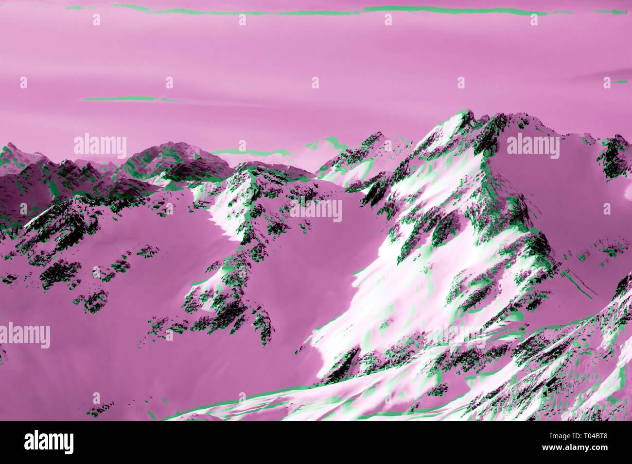 camera matrix mistake beautiful Alps mountain lanscape rocks under snow - Stock Image
