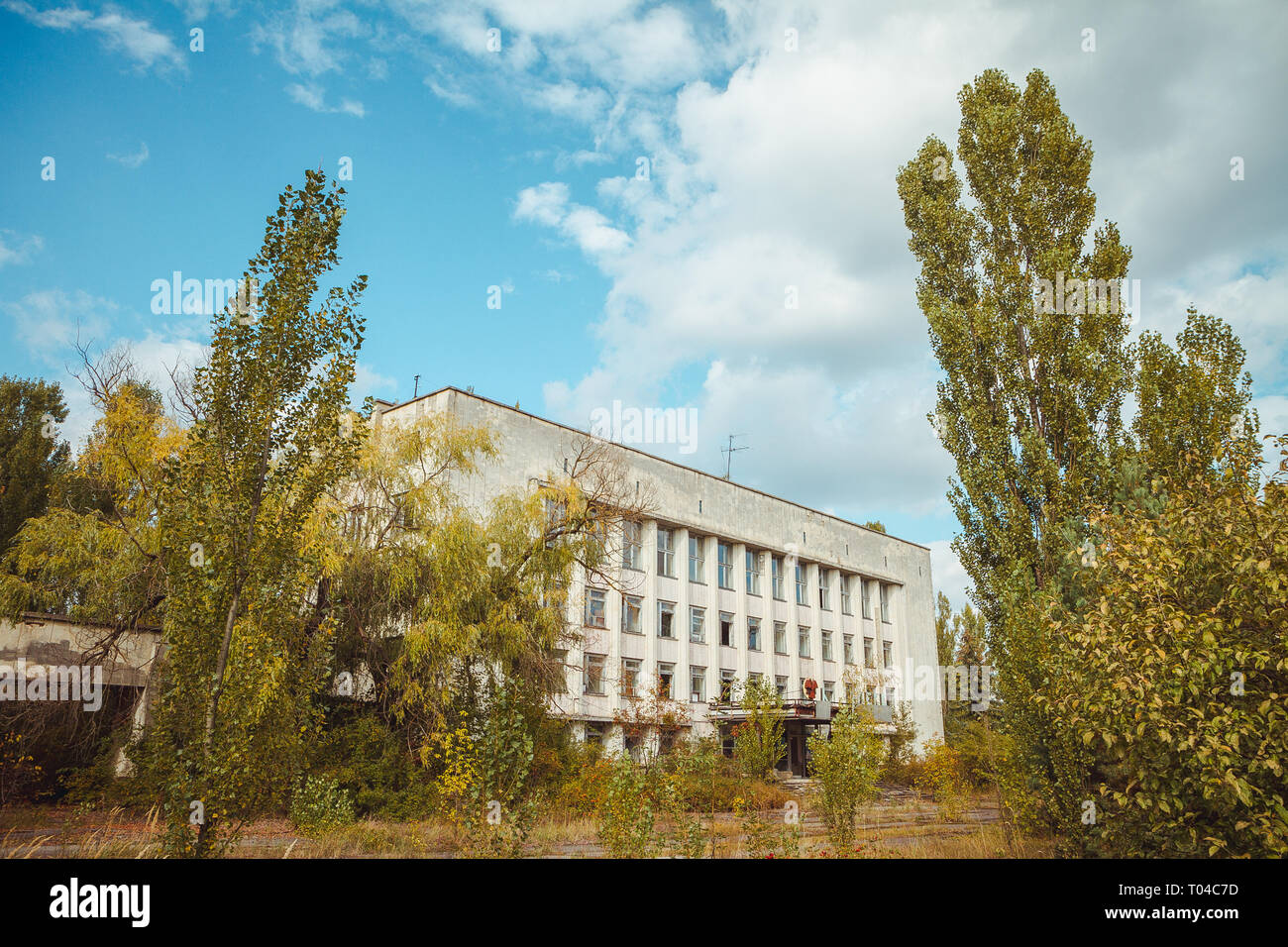 Buildings and streets in Chornobyl exclusion zone. Radioactive zone in Pripyat city - abandoned ghost town. Chernobyl history of catastrophe. Lost - Stock Image