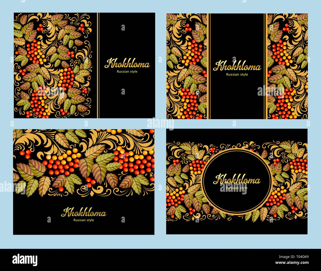 Russian Khokhloma Painting Russian Style Decoration And Design Element Vector Graphics Banners With