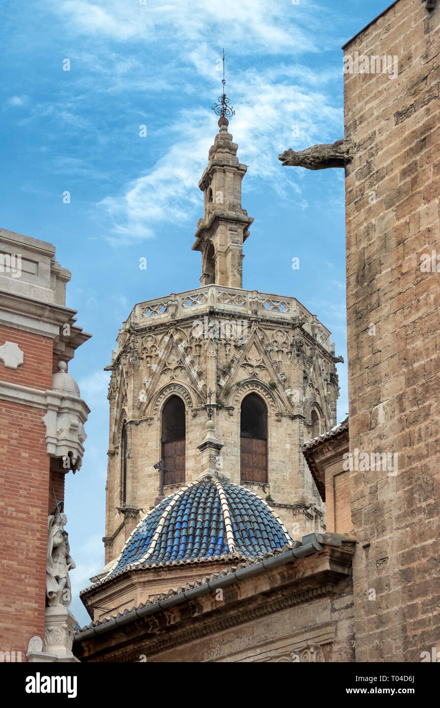 Miguelete tower, Saint Mary's Cathedral or Valencia Cathedral,  Valencia, Spain. - Stock Image