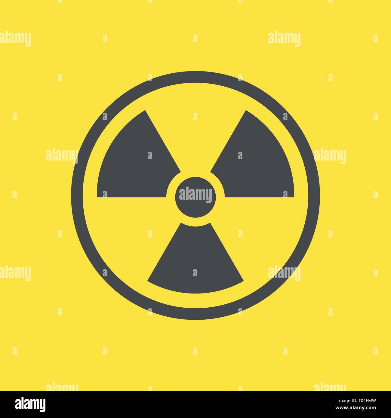 Radioactive warning yellow sign. Vector Illustration. EPS 10 - Stock Vector