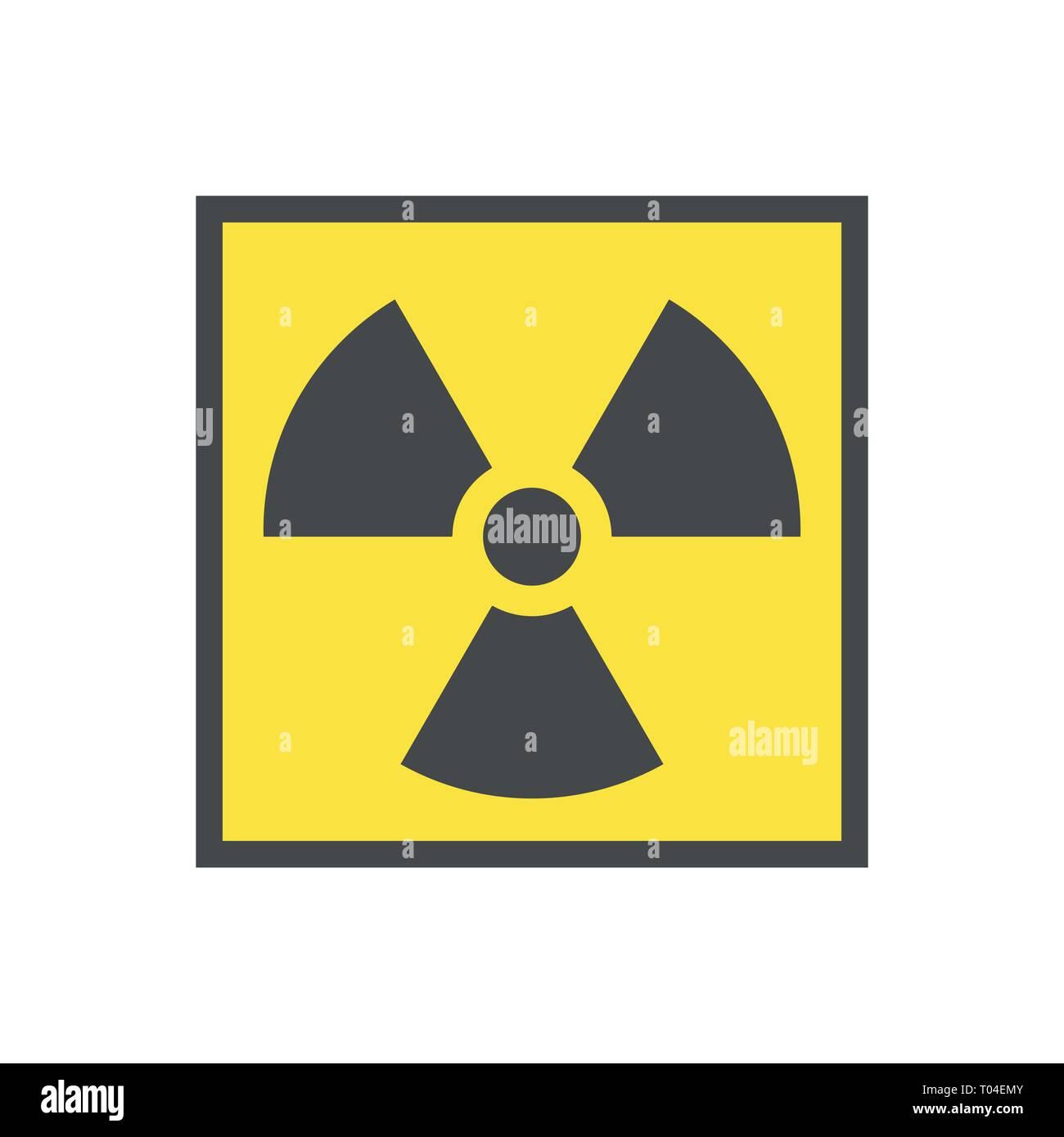 Radioactive warning yellow triangle sign. Radioactivity warning vector symbol. - Stock Vector