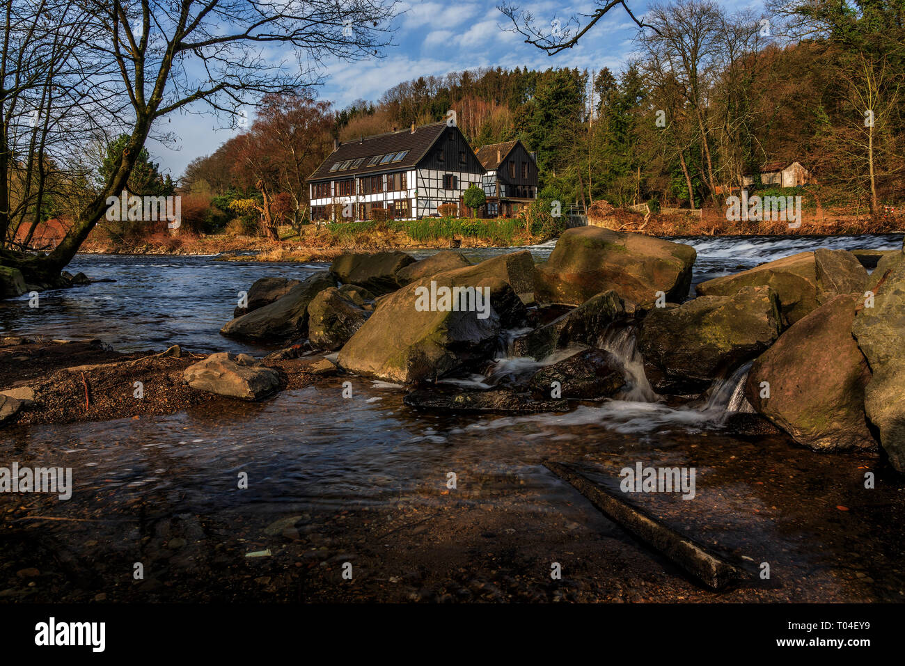 Half-timbered houses on the River Wupper, Viewpoint Wipperkotten. - Stock Image