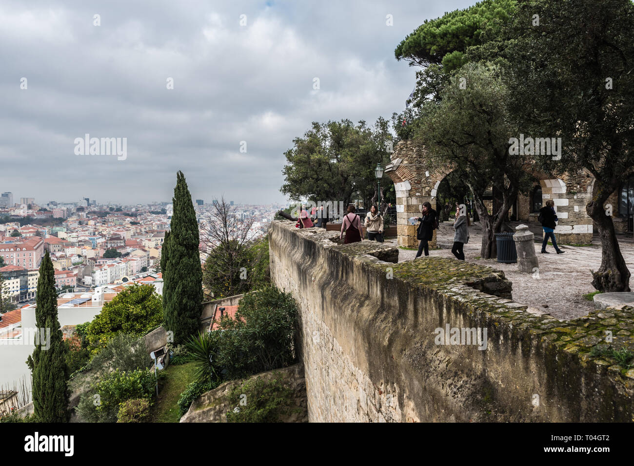 Lisbon, Portugal - 12 26 2018: View from the old Saint George Castle over the defensive wall and a part of the city - Stock Image