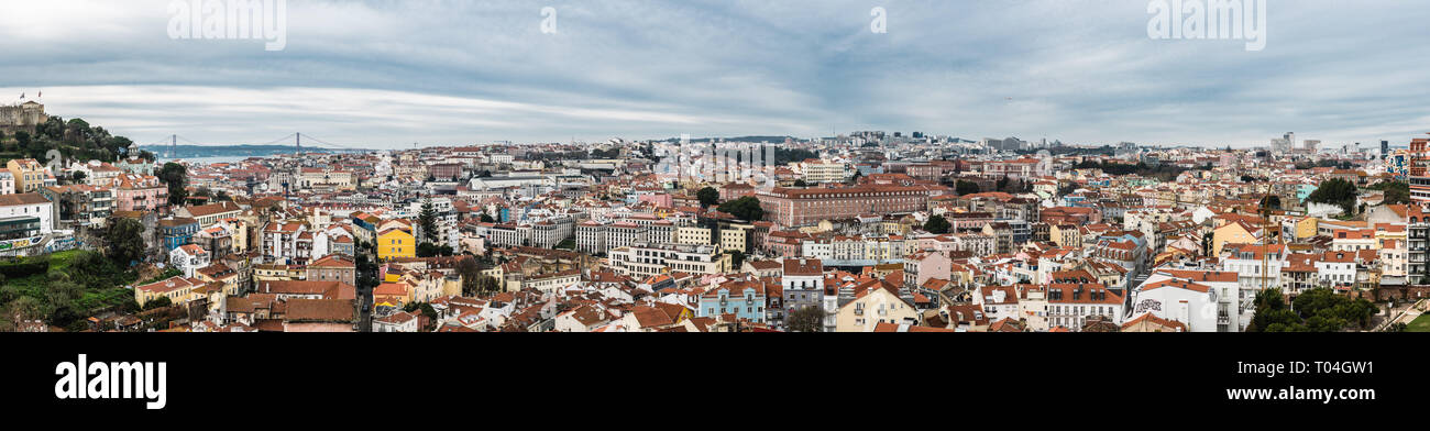 Lisbon, Portugal - 12 27 2018: Extra large panoramic view of the city skyline taken from the Miradouro do Recolhimento Stock Photo