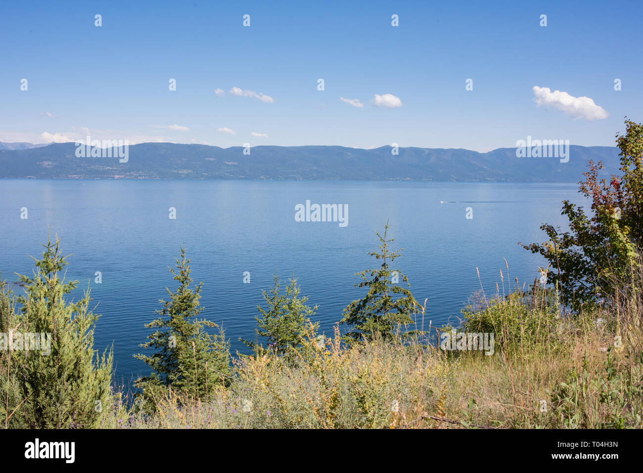 Flathead Lake, near Kalispell, Montana, is nearly 30 miles long and