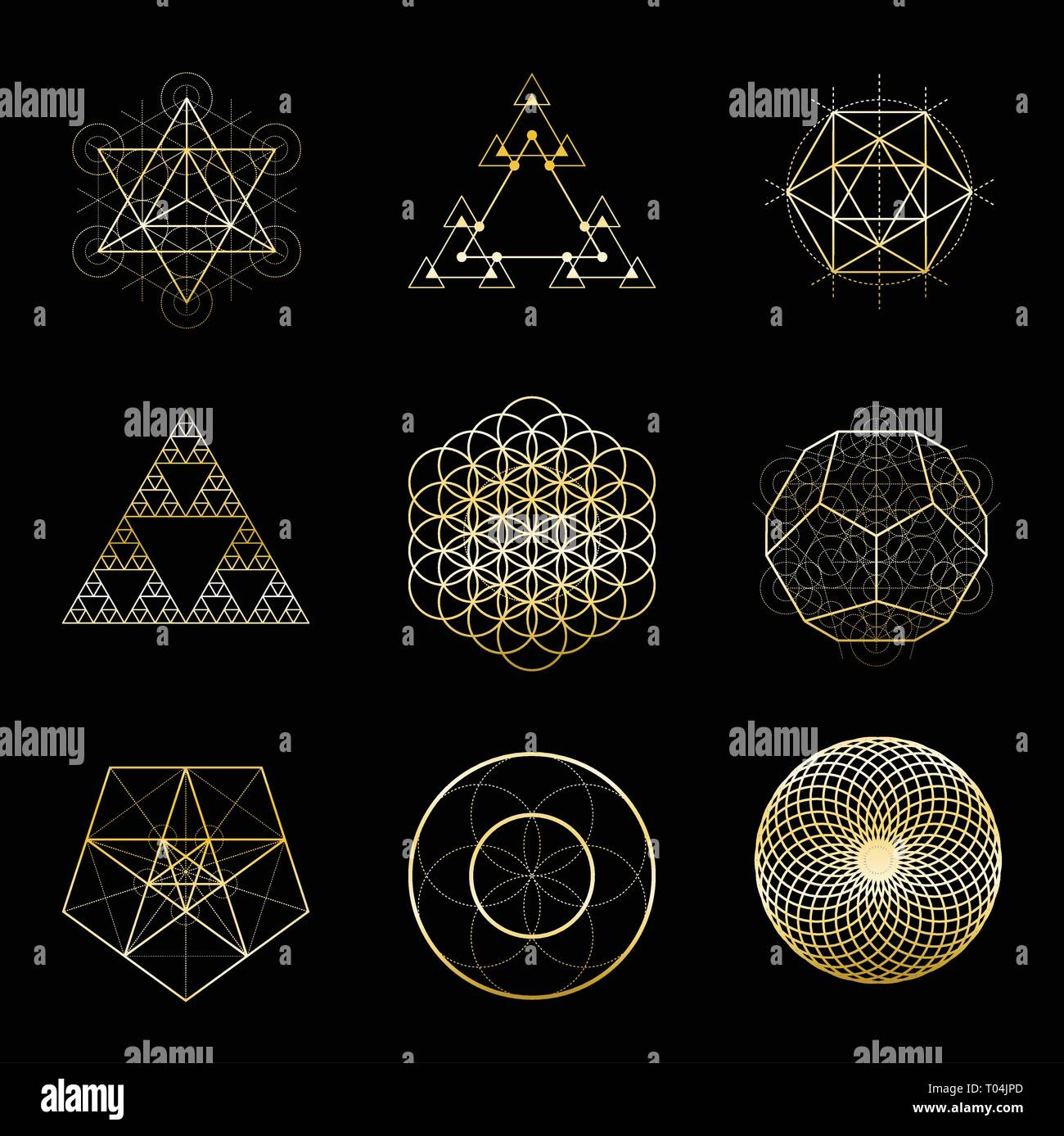 Sacred Geometry Golden Vector Design Elements Collection Alchemy