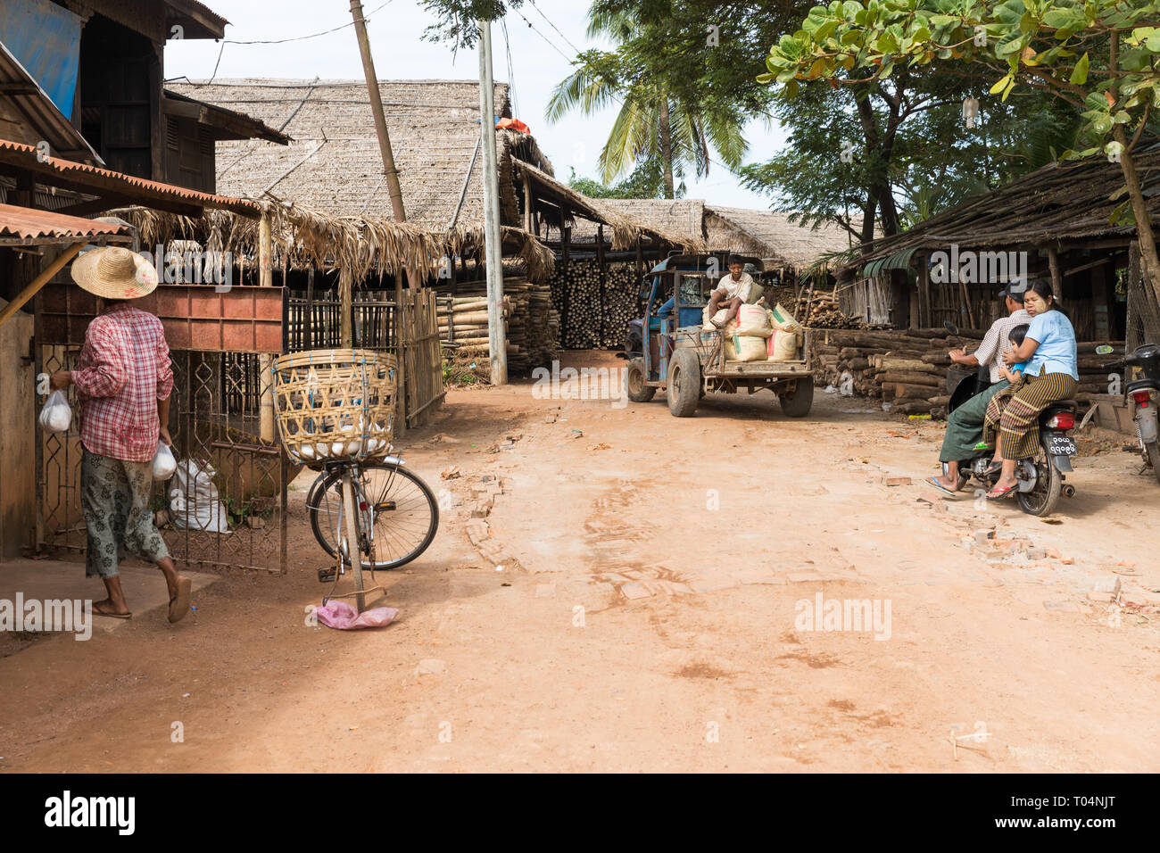 Rural village life in a small town in Myanmar (Burma Stock Photo