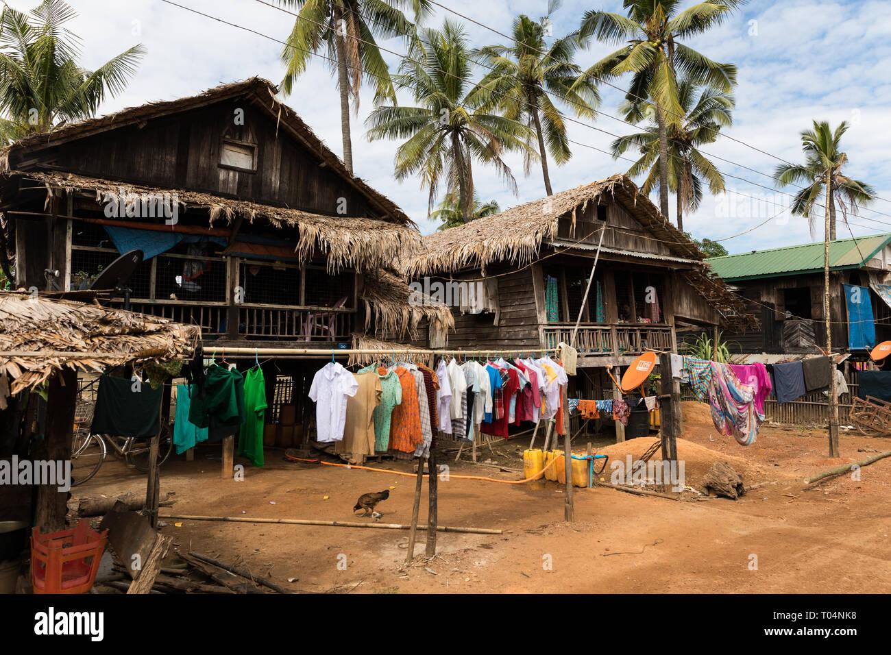 Rural village life in a small town in Myanmar (Burma Stock