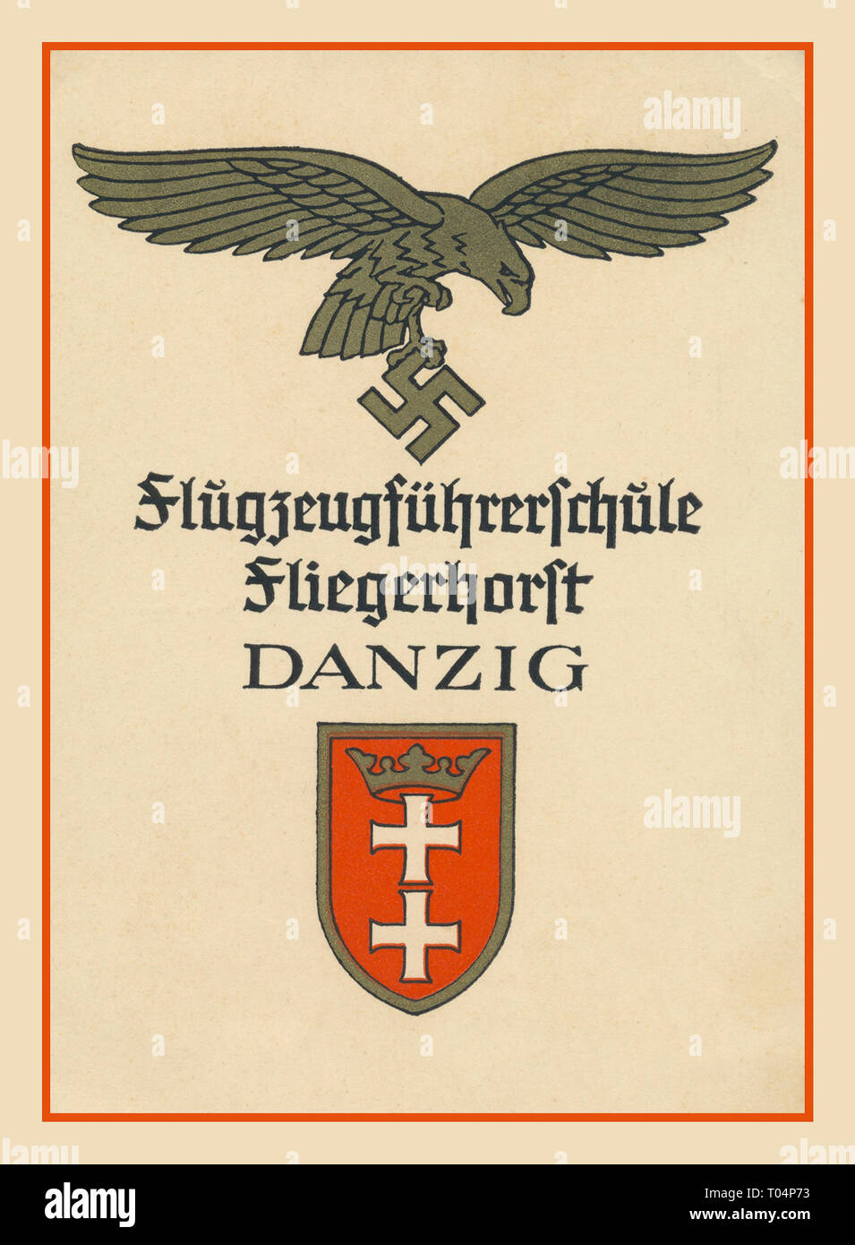 Nazi WW2 Official Postcard Propaganda 1940, 'aircraft pilot school air base Danzig', coloured propaganda card, used by the air cadet Luftwaffe post with military stamp. Germany Nazi Eagle carrying Swastika Luftwaffe symbol insignia World War II - Stock Image