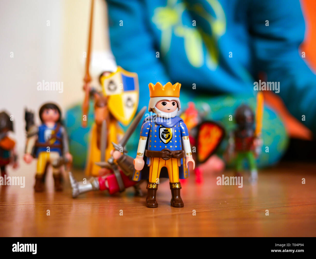 toy soldiers, King of knights in the children's room Stock Photo