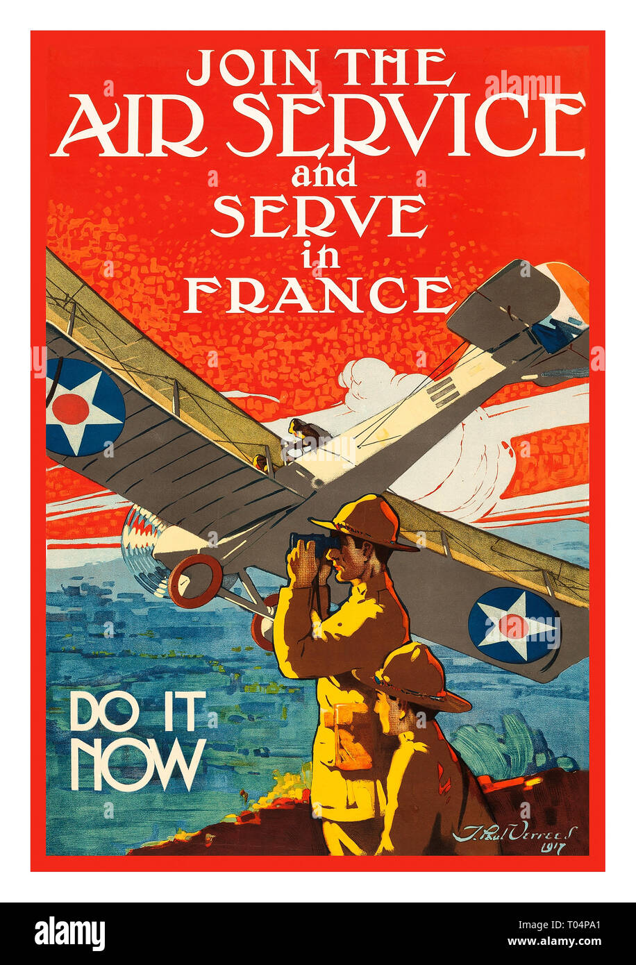 WWI JOIN THE AIR SERVICE AND SERVE IN FRANCE by Verrees 1917 At the start of the Great War, the airplane was only ten years old, and the U.S. military ranked 16th in the world, just behind Portugal. By July of 1917, General John J. Pershing requested a force of one million men. To appeal to potential recruits, a propaganda campaign was crafted by the Committee on Public Information that included recruiting posters by some of America's top illustrators. Themes of honour, patriotism, adventure, education, and heroism themed these recruitment call-to-action posters. Stock Photo