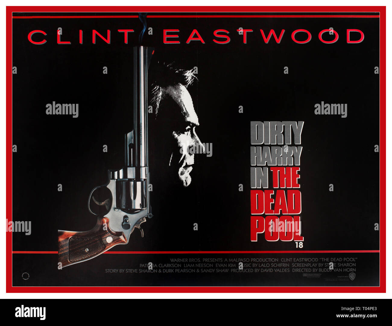DIRTY HARRY CLINT EASTWOOD 1980's vintage movie poster for The Dead Pool a 1988 American action film directed by Buddy Van Horn, written by Steve Sharon, and starring Clint Eastwood as Inspector 'Dirty' Harry Callahan. It is the fifth and final film in the Dirty Harry film series, set in San Francisco, California USA 1988. - Stock Image