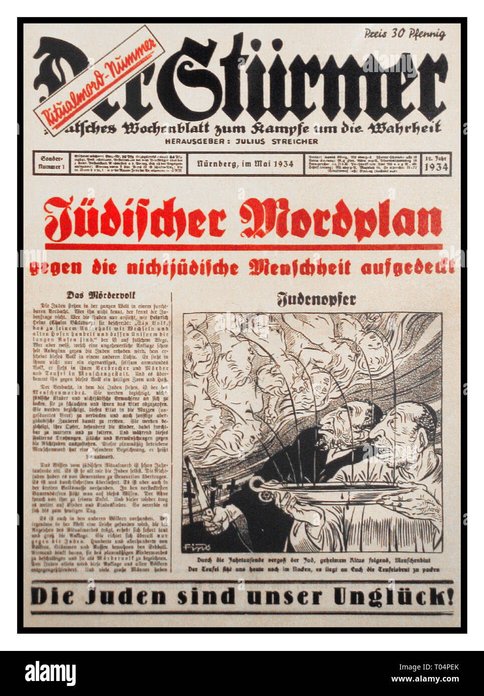 NSDAP Nazi Anti Jewish Racist Propaganda Germany 1934 Der Stürmer Tabloid Newspaper special issue, image shows Jews extracting blood from Christian children for use in religious rituals (an example of the blood libel against Jews) Weekly German newspaper published by Julius Streicher, the Gauleiter of Franconia, from 1923 to the end of World War II Nuremberg Nazi Germany During WW2 Streicher regularly authorized articles demanding the annihilation and extermination of the Jewish race. Der Stürmer was best known for its anti-Semitic caricatures, which depicted Jews as ugly characters - Stock Image