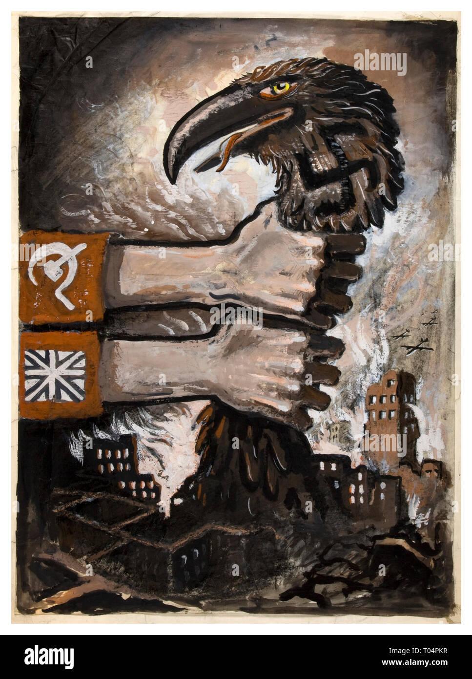Vintage Propaganda Poster WW2 Allied Powers Soviet and British unity strangling predatory swastika wearing Germany hawk-like bird midst Nazi Germany ruins 1940's - Stock Image