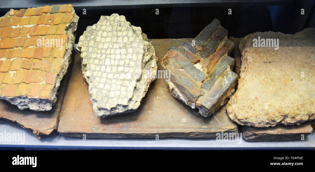 Roman building materials inside Chelmsford Museum, Chelmsford, Essex, UK - Stock Image