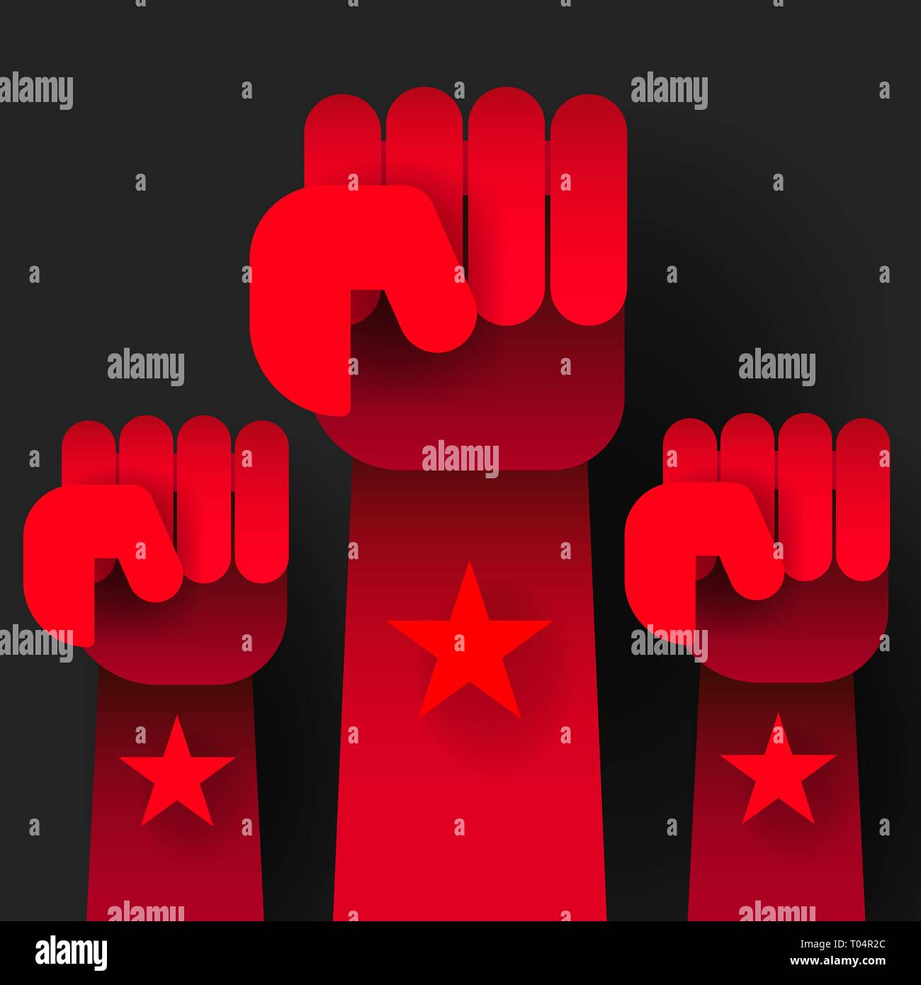 Propaganda Background Style Revolution Fist Raised In The Air. Clenched Fist - Stock Vector