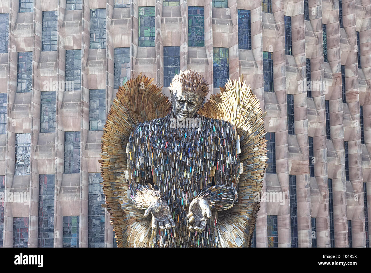 Knife Angel sculpture, National monument against violence and aggression and Knife crime - Stock Image